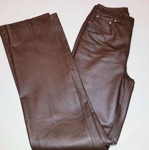 Newport News Pants - Brown Leather Pants by Newport News